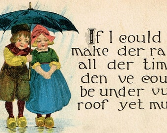 If I Could Make Der Rain All Der Time ...   1914 Antique Swedish Love You Postcard