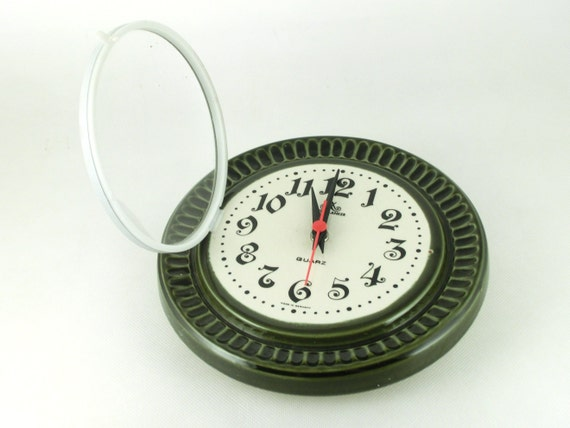 Vintage ceramic wall clock from Germany - green