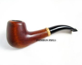 Classic Tobacco Wooden Pipe 6'', Smoking Wooden Pipe Carving Handmade Pear Root Wood Pipe and Wood Ring, Best Price in FPS