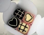 Box of chocolates - set of 4 crochet bon bon magnets
