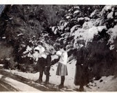 Children Eating Snow- Whimsical 1920s-30s Vintage Photo, Black and White