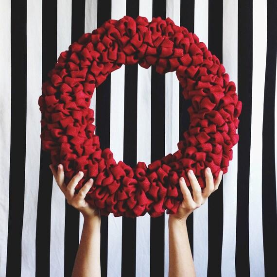Burlap Wreath-RED