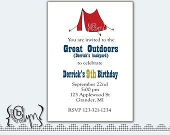 Camping in the great outdoors printable birthday invitation
