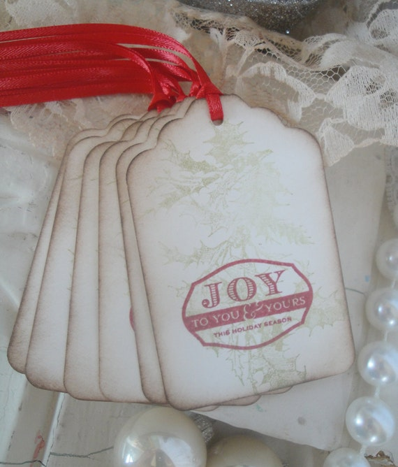Christmas Gift Tags - Red and Ivory - Shabby Chic Christmas - Vintage Styled Christmas Tags