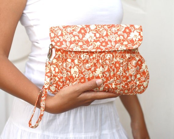 Autumn wedding clutch floral orange pleated wristlet purse