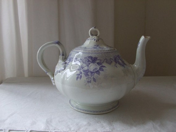 Vintage French country style large teapot  - very old purple colour...