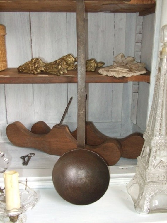 Vintage French HUGE old country style ladle.  Cottage, shabby chic