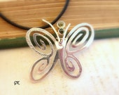 Large Butterfly Silver Necklace,  inspired by natural woodland, Mint Green Jewelry