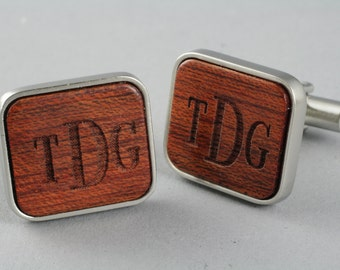 Monogrammed Wooden Cuff Link. Personalized gift for you, husband, father, brother. Wood engraved with initials.
