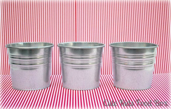 6 galvanized metal buckets pail 5 inch party favors