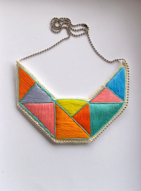 Geometric statement necklace embroidered  bib in mint bright yellow pink blue lavender and orange embroidered triangles dramatic design