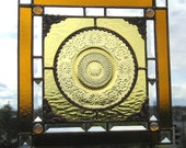 Stained Glass Panel - Depression Glass - Depression Glass Plate - Gold Plate - Handcrafted - Made in USA
