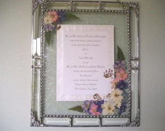 """MADE to ORDER Framed Wedding Invitation Pressed Flowers Up to 5""""x7"""" Made to Order Weddings Keepsake Handcrafted Made in USA"""