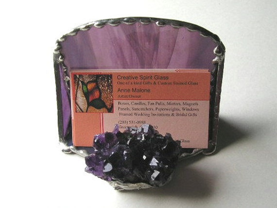 Stained Glass Business Card Holder with Purple Amethyst Crystal Cluster  - Purple Glass -   SilverTrim - Handcrafted - Made in USA