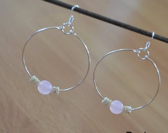 Seashell Jewelry ... Simple Pink Glass Bead Hoop Earrings (0685)