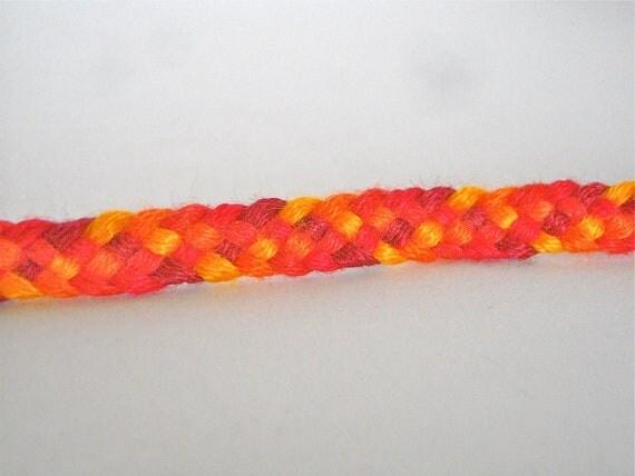 Friendship Bracelet - Red and Orange Big Band Weave