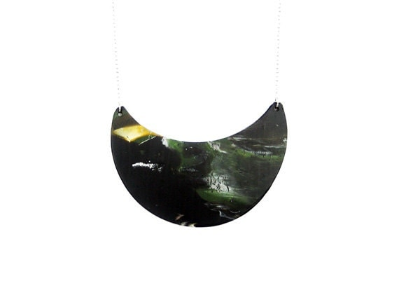 OOAK  Half Moon Polymer clay Necklace