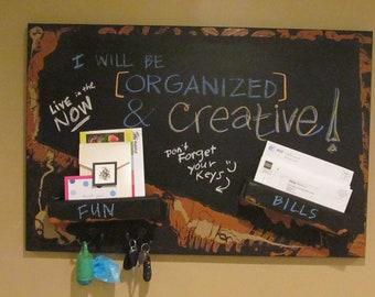 Whimsical Wall Mail Organizer Chalkboard message board key hooks funky artistic