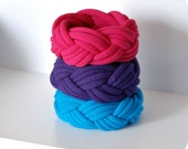Fabric Bracelets - Thick Braided Cuffs - By LimeGreenLemon