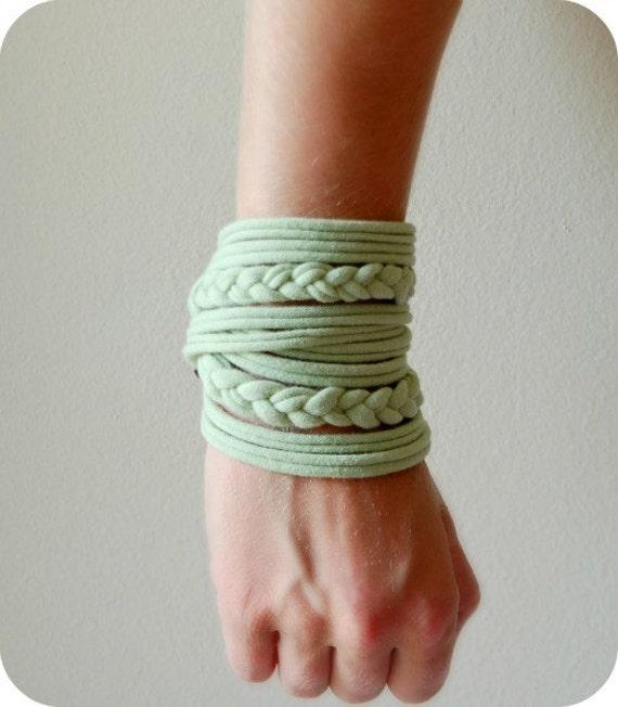 Womens Braided Cuff - Tshirt Bracelet - By LimeGreenLemon