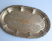 oval silver plated brass tray, vintage brass dish, silver plated brass plate, small tray, small dish, chabby chic