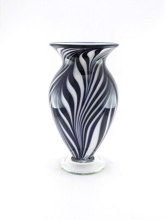 Hand Blown Art Glass Vase - Black and White - Zebra