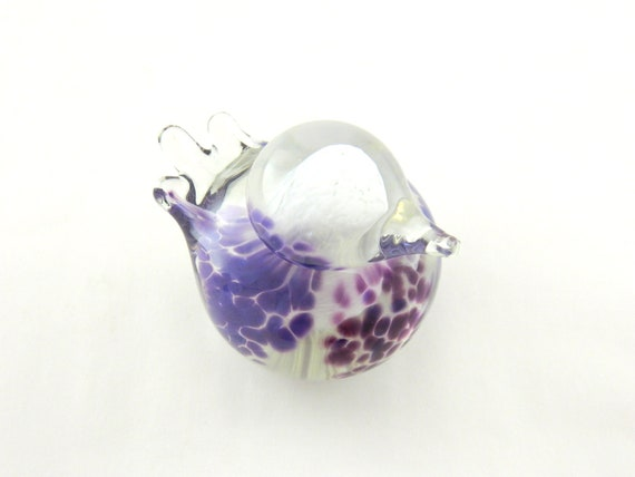 Art Glass Bird - White, Purple, and Lavender