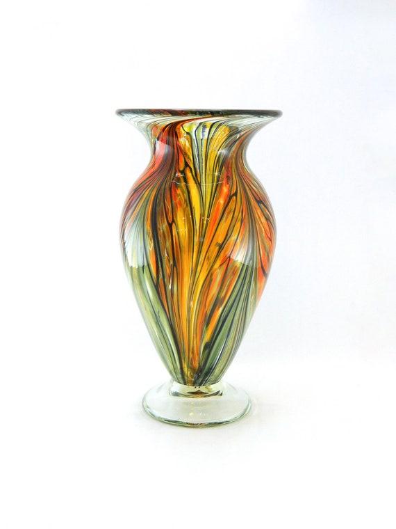 Hand blown art glass vase orange gold and red autumn