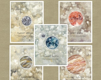 "Heavenly Bodies Illustration Planet set of 9 prints 11""x14"""