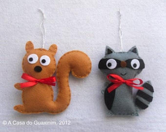 Squirrel and Raccoon - Set of 2 felt ornaments