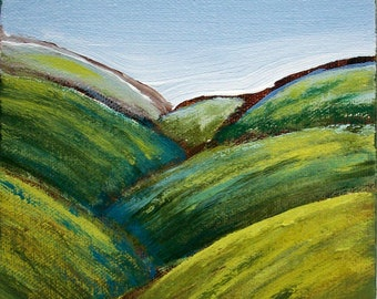 Landscape Original Painting, Vermont, Green Mountains, stretched canvas, 5x5