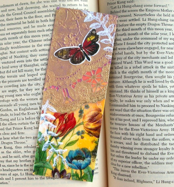 ART Collage BOOKMARK mixed media, original. one of a kind, butterfly, tulips
