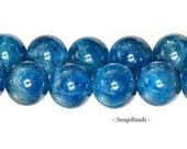 10MM Connoisseur Blue Apatite Gemstone Grade AA Round 10MM  Loose Beads 7.5 inch Half Strand (90106950-123)
