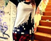 art Dress/ Tunic/ Top New York City Skyline art/ Hand painted/ Wearable art/ Grey/ Black/