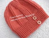 Hand Knit Women Hat, Coral Hat.