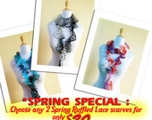 SPECIAL - 2 Ruffle Lace Spring Scarves for 20 - ruffled - Sale - Summer Scarf