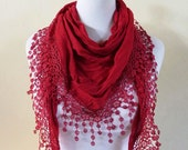 Scarf - RED with richly frilled edge - scarflette cowl neckwarmer - Spring / Summer