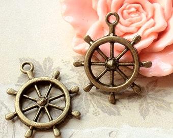 25 mm Antiqued Bronze Rudder Charm Pendants (.aa)