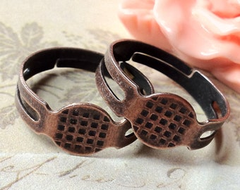 18 mm Antique Copper Adjustable Ring Findings. (.mc)