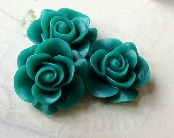 21 mm Malachite Green Colour Rose Resin Flower Cabochons (.ag)