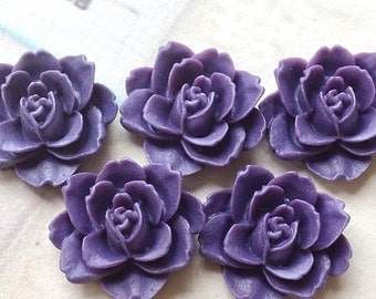 19 x 18 mm Dark  Purple Colour Resin Peony Flower Cabochons (.ag)