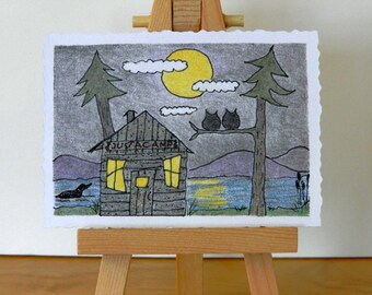 ORIGINAL DRAWING ACEO - Camping Aceo, Original Colored Pencil and Ink, Small Format Art, Camp Moon Rise ,Log Cabin, Owls, Loon