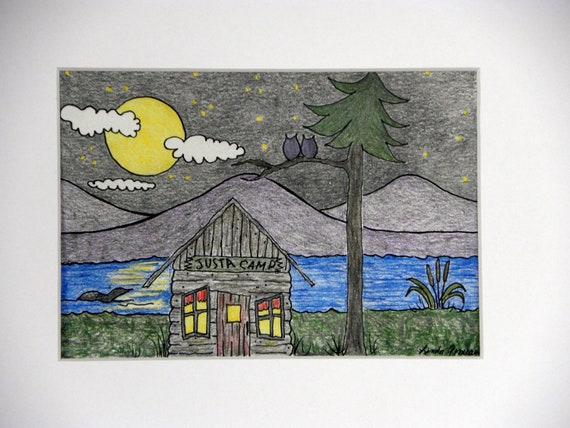 CABIN ACEO Colored Pencil Drawing Camp Cabin by MyHumbleJumble