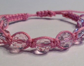 Light Pink Czech Glass Faceted Beads on Pink Cotton Cord Bracelet