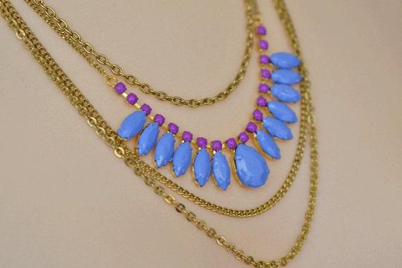 rhinestone bib necklace Diamond Drape purple blue hand painted