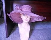 Dusty rose tea hat derby hat organza hat