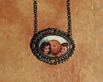 Jack-o-Lantern Secrets Halloween Necklace