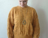 70's GOLDEN ROD Hand Knit Scalloped Sweater