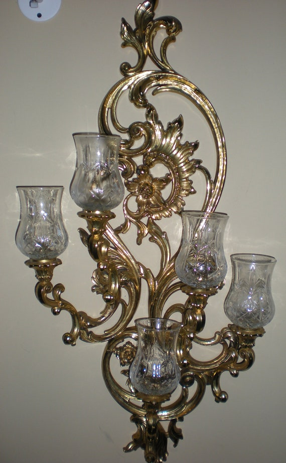 Five arm ornate baroque gold wall sconce candle holder homco for Home interior 5 arm sconce