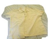 Three piece outfit lightweight jacket pants shorts light yellow Joseph Chaus silk